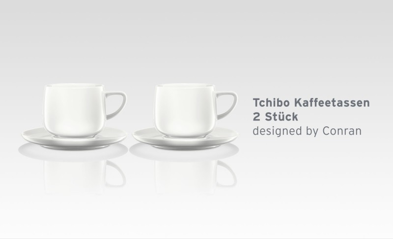 tchibo kaffee tassen 2er weiss aus qualit tsporzellan designed by conran ebay. Black Bedroom Furniture Sets. Home Design Ideas
